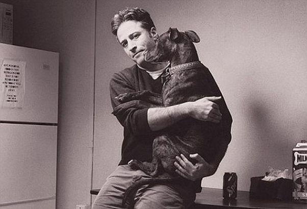 Jon Stewart holding a pit bull
