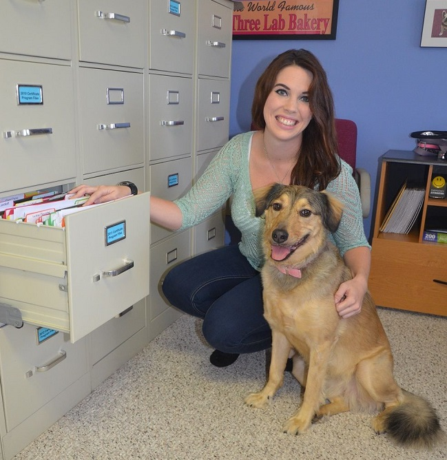 Take Your Dog to Work Day dog at file cabinet